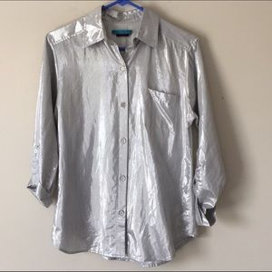 Alice + Olivia  silver lame Blouse with roll up XS